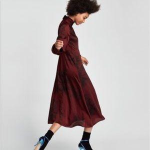 Zara printed long sleeve midi dress